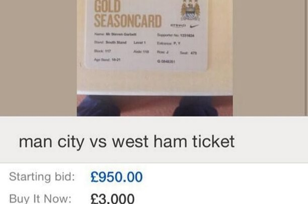 City fan selling ticket