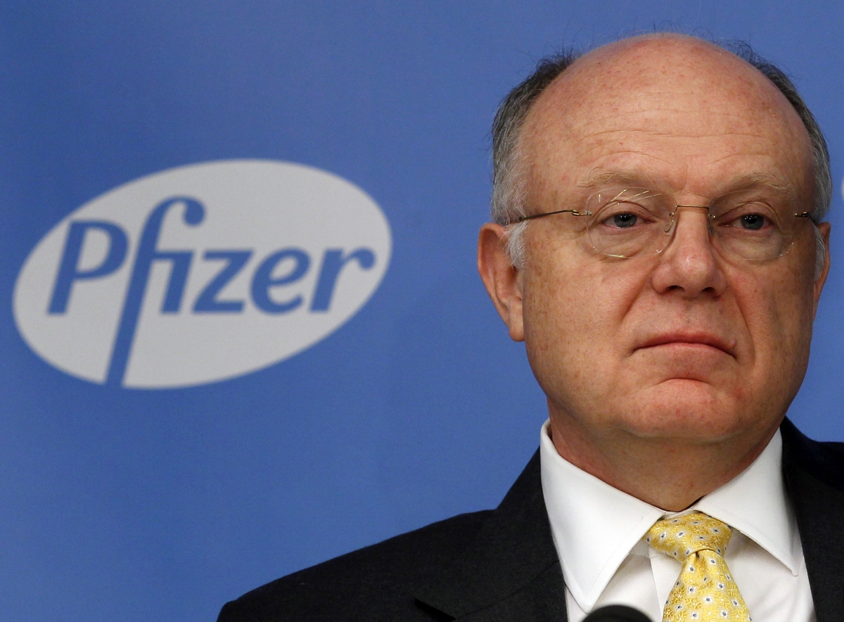 Ian Read, chief executive officer of Pfizer, addresses a news conference in New York