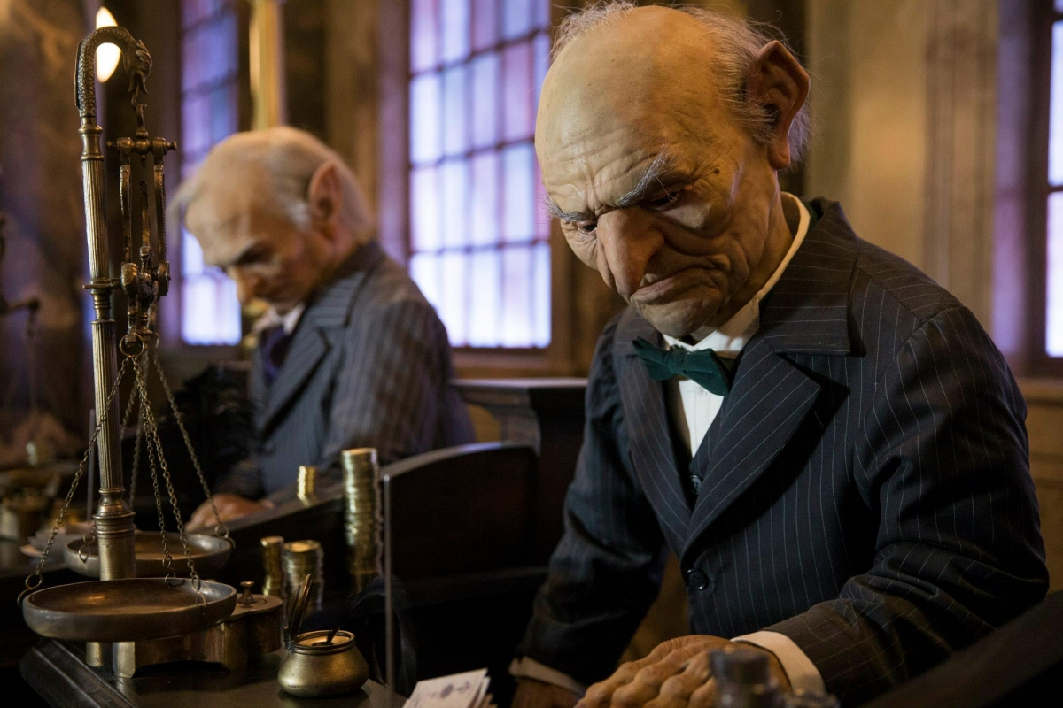 The ride has recreated the hardworking goblins of Gringotts Bank