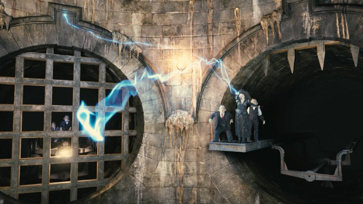 The fanatical Bellatrix Lestrange defends her bank vault from Harry, Ron and Hermione