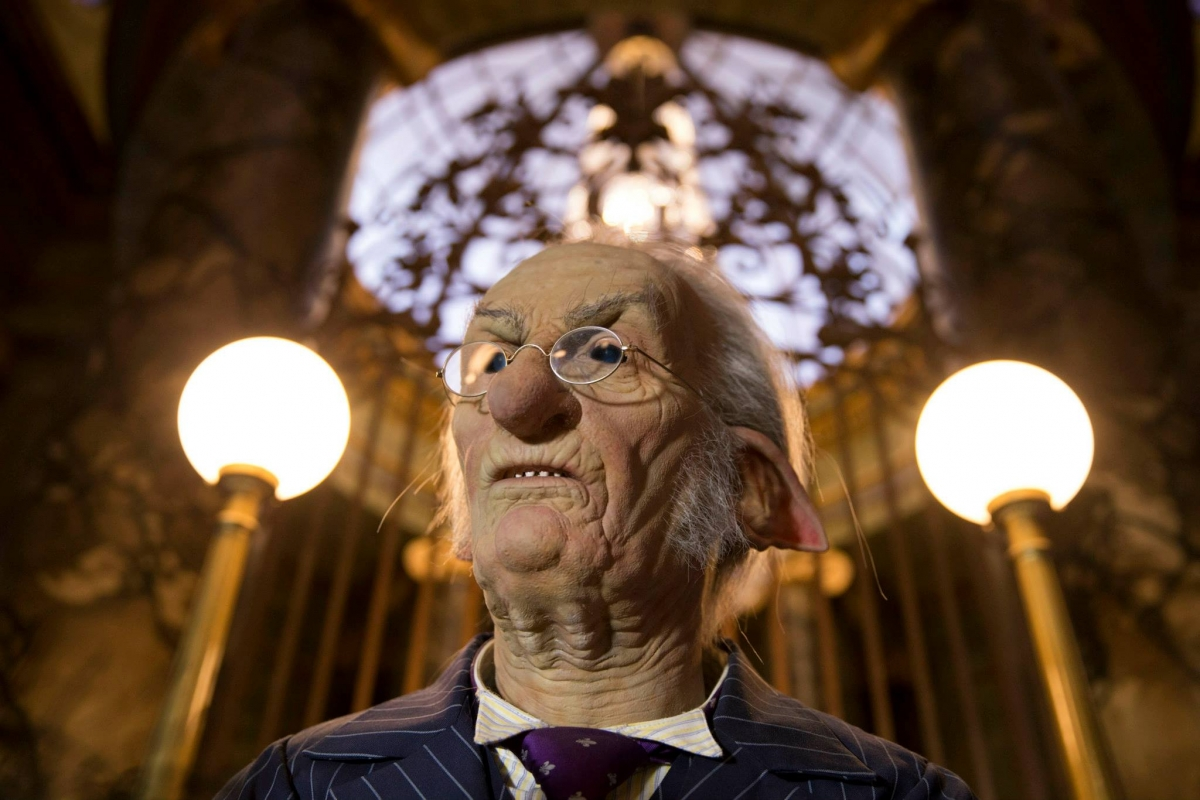 The goblins in Gringotts Banks will actually move and work away counting precious gems as visitors walk pask