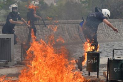 ankara police on fire