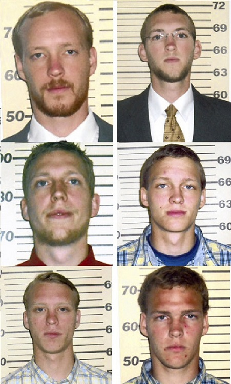 Six brothers in North Carolina charged with raping and sexually-assault a girl since she was four. Top L to R: Eric and Jon Jackson, Mid L to R: Matthew and Aaron Jackson. Bottom L to R: Nathaniel and Benjamin