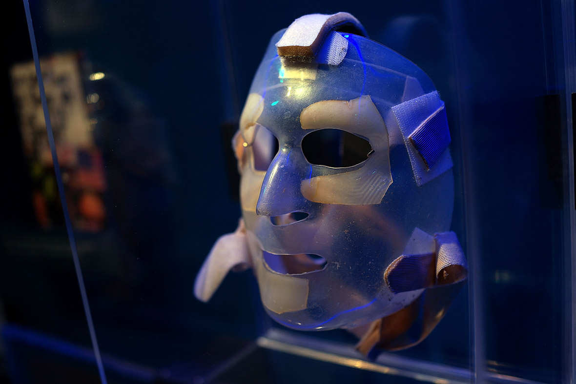 A recovery mask used by a burn victim from the attacks on September 11