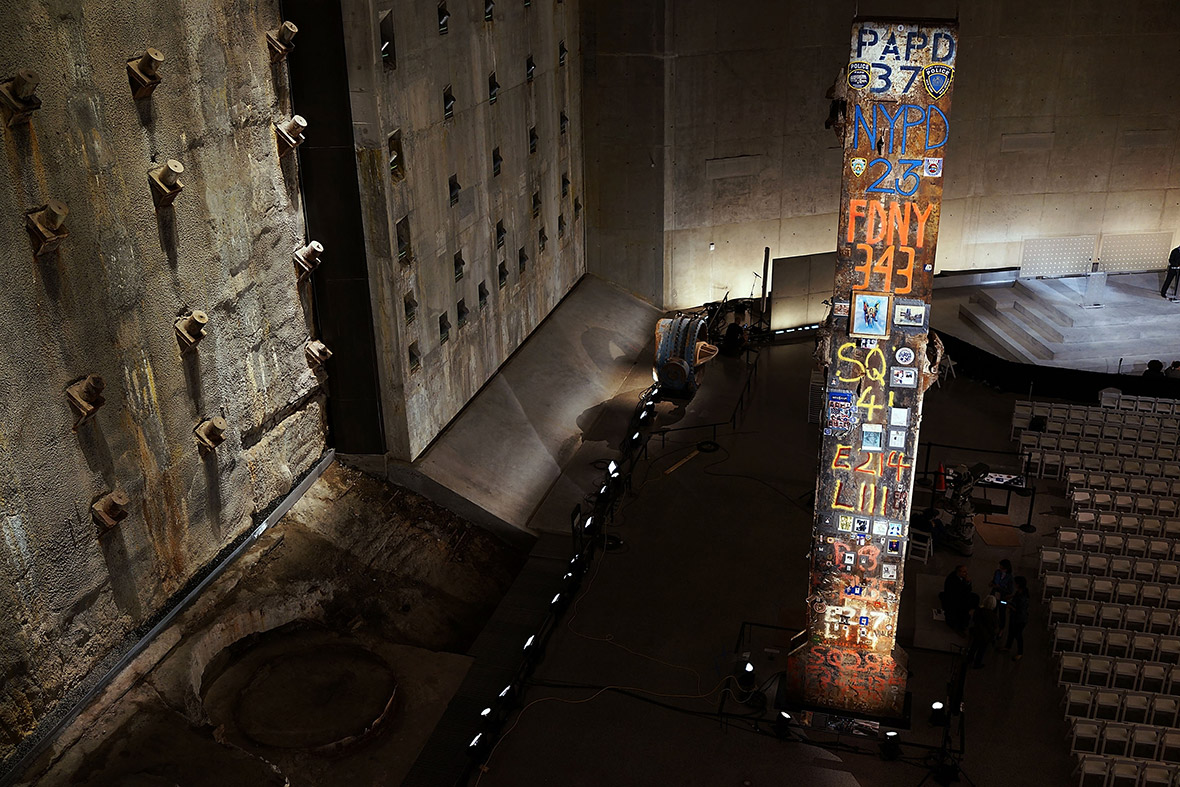 A decorated pillar from Ground Zero and the Slurry Wall