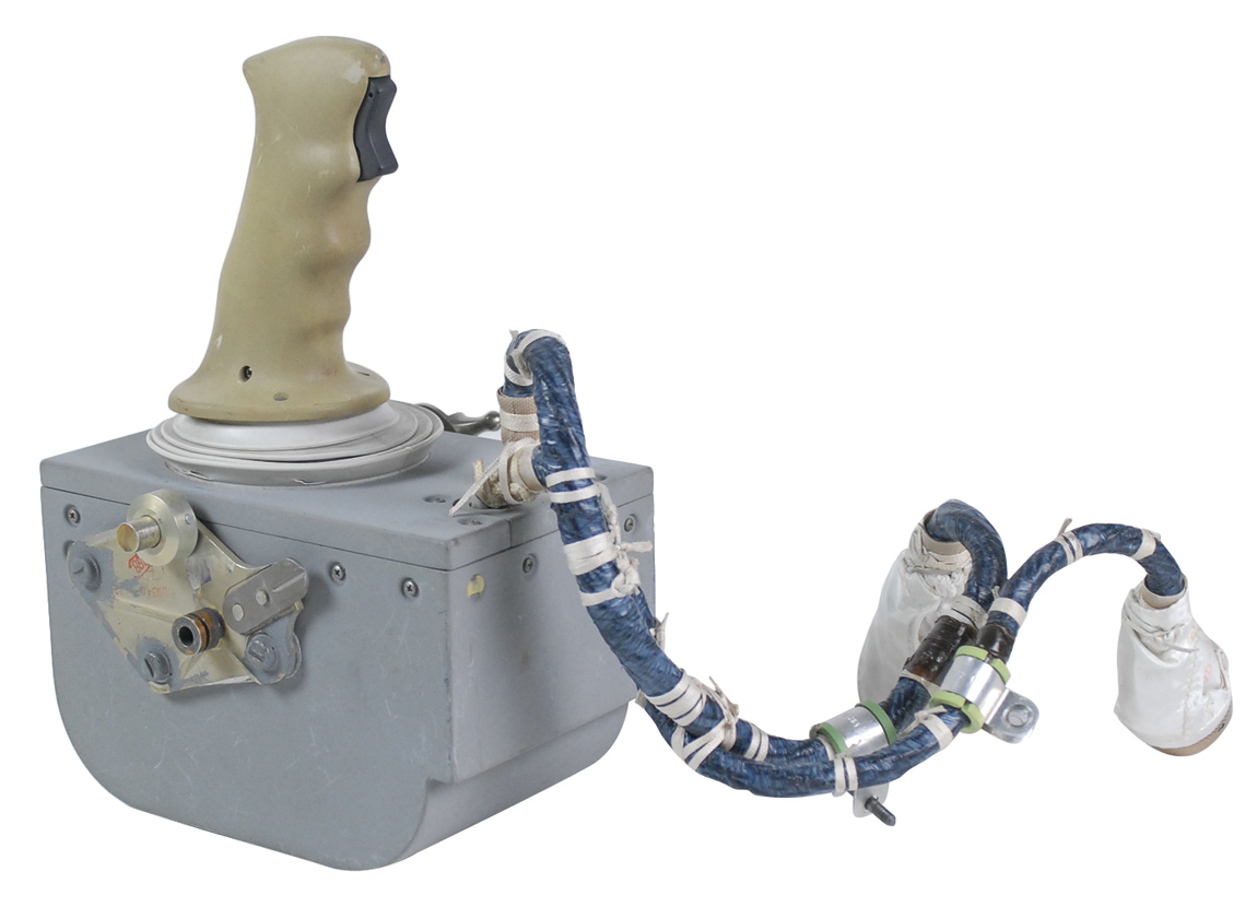 Apollo 15 lunar module rotational hand controller that flew to the moon's surface