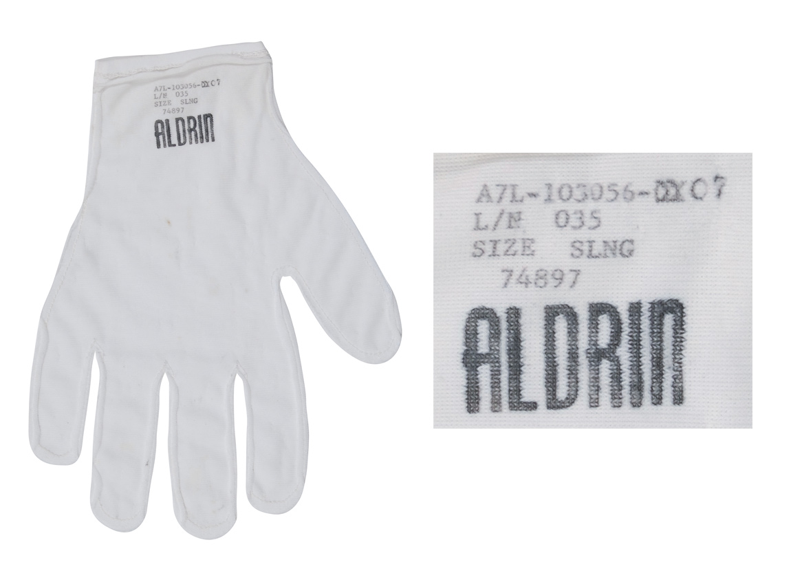 Buzz Aldrin glove liner from Apollo 11, the first space mission to successfully land on the moon