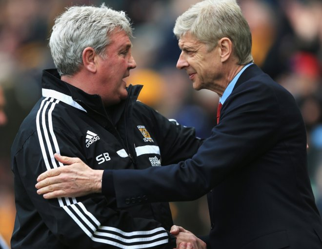 Steve Bruce and Arsene Wenger
