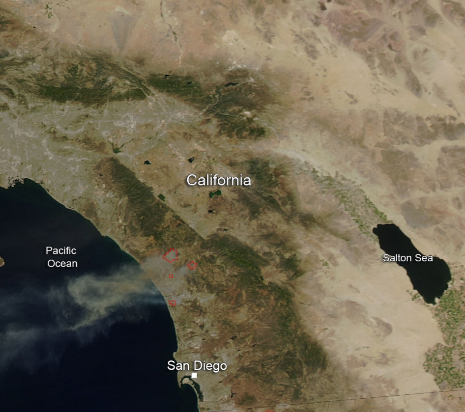 san diego fire from space
