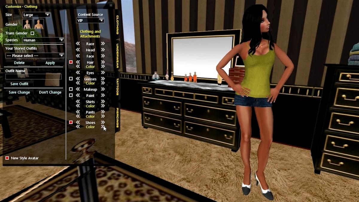 Multiplayer adult virtual world