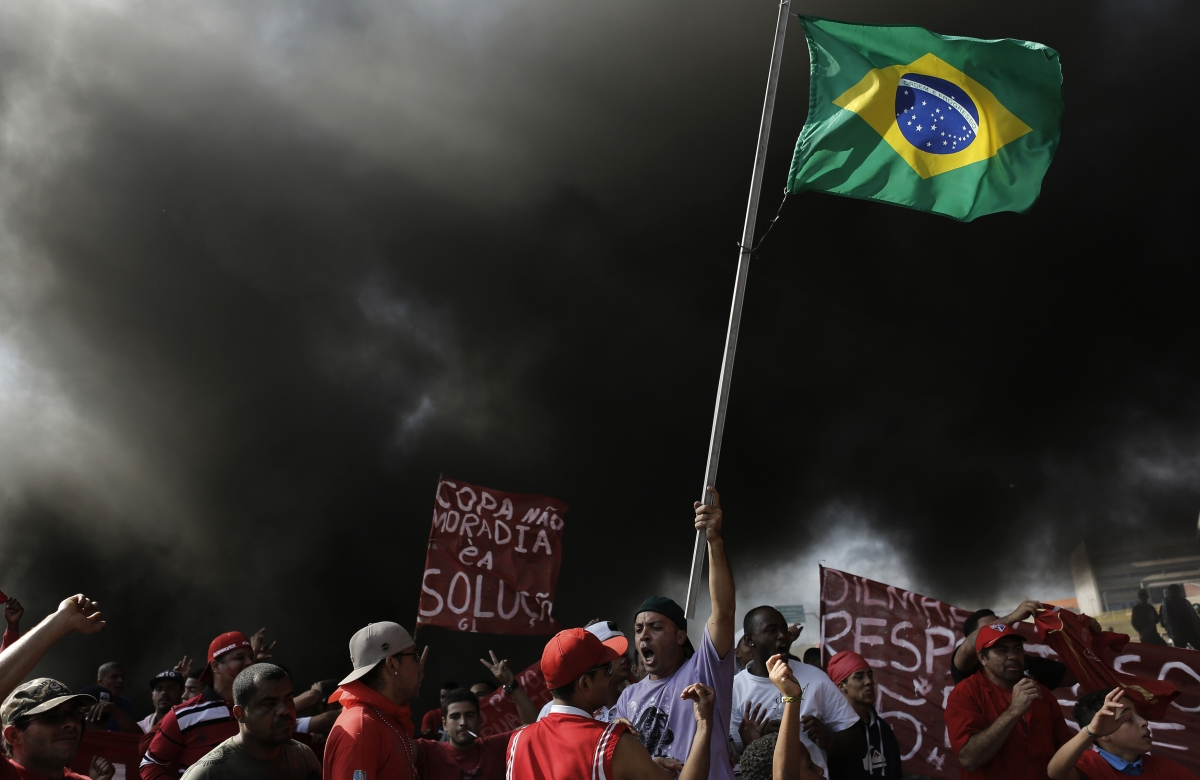 Members of Brazil's Homeless Workers' Movement (MTST) join the protests on the streets of Rio