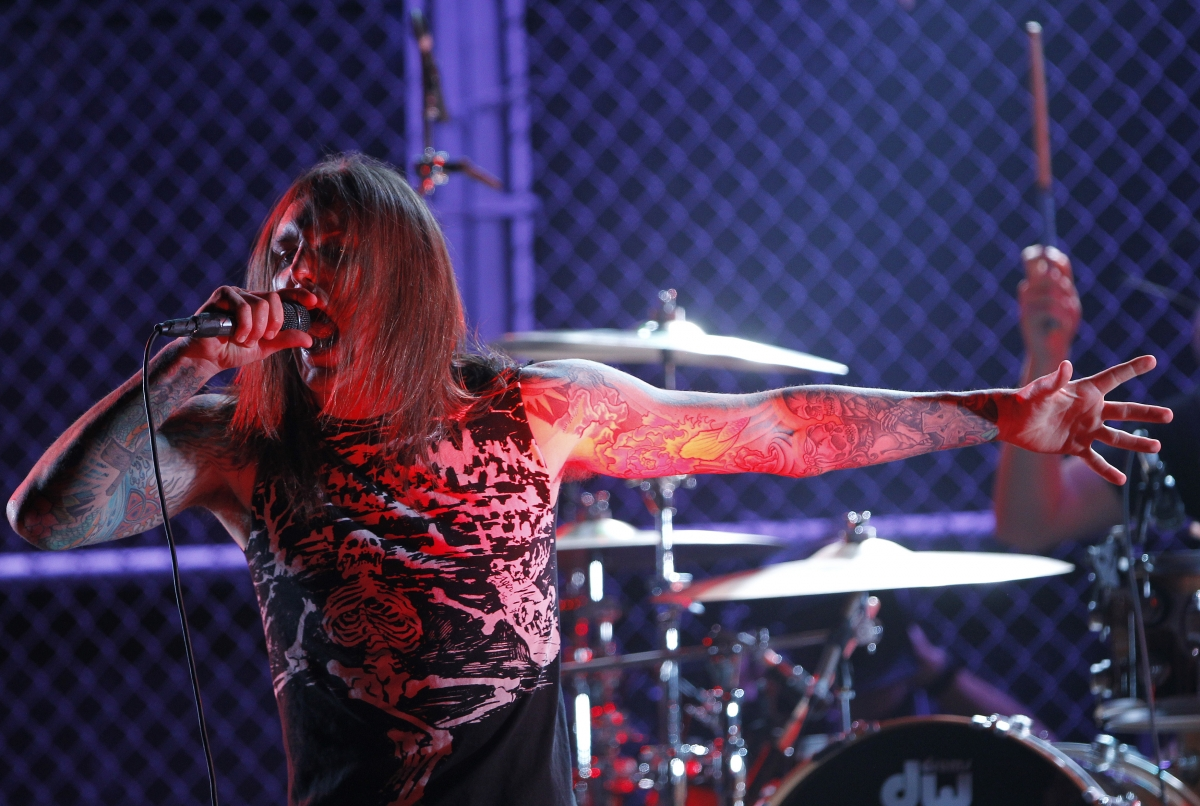 Tim Lambesis perfoms with As I Lay Dying at a 2010 awards ceremony.