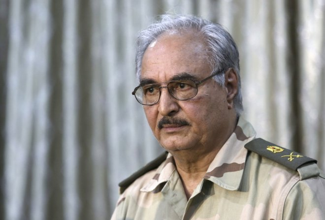 General Khalifa Haftar attends a news conference in Abyar, a small town to the east of Benghazi