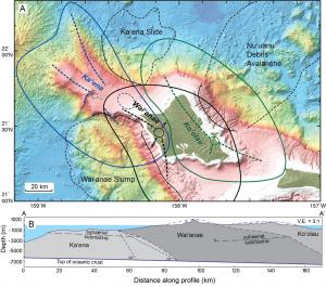 Schematic of three volcanoes now thought to make up the region of O'ahu