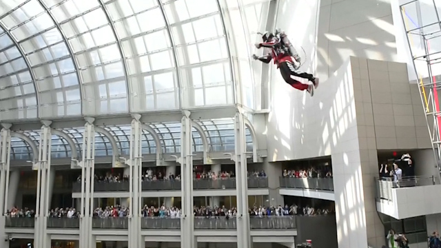 Man Soars in the Air with the Help of a Jetpack