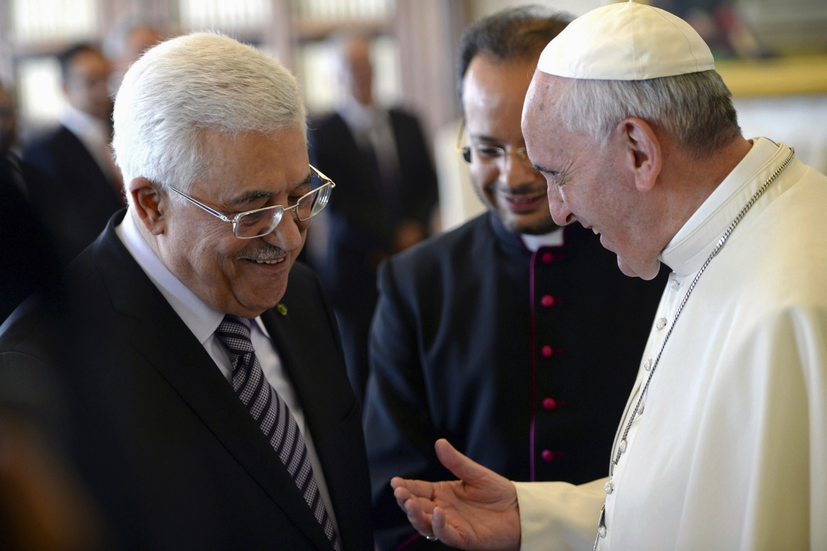 Pope Francis in a private conversation with Palestinian President Mahmoud Abbas.