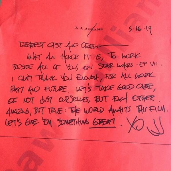Star Wars director J.J. Abrams' note to cast and crew