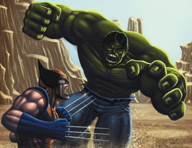 Wolverine battles The Hulk