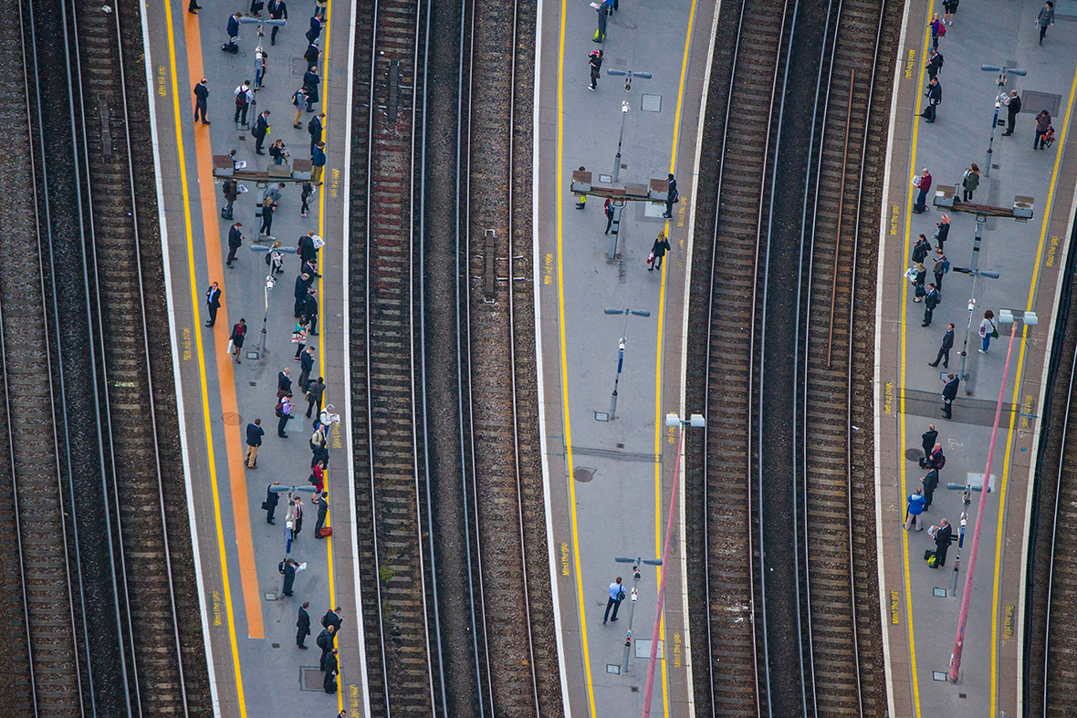 People waiting on the platforms at London Bridge Station
