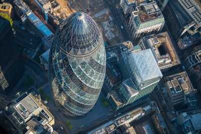 Looking down on 30 St Mary Axe informally known by many as The Gherkin