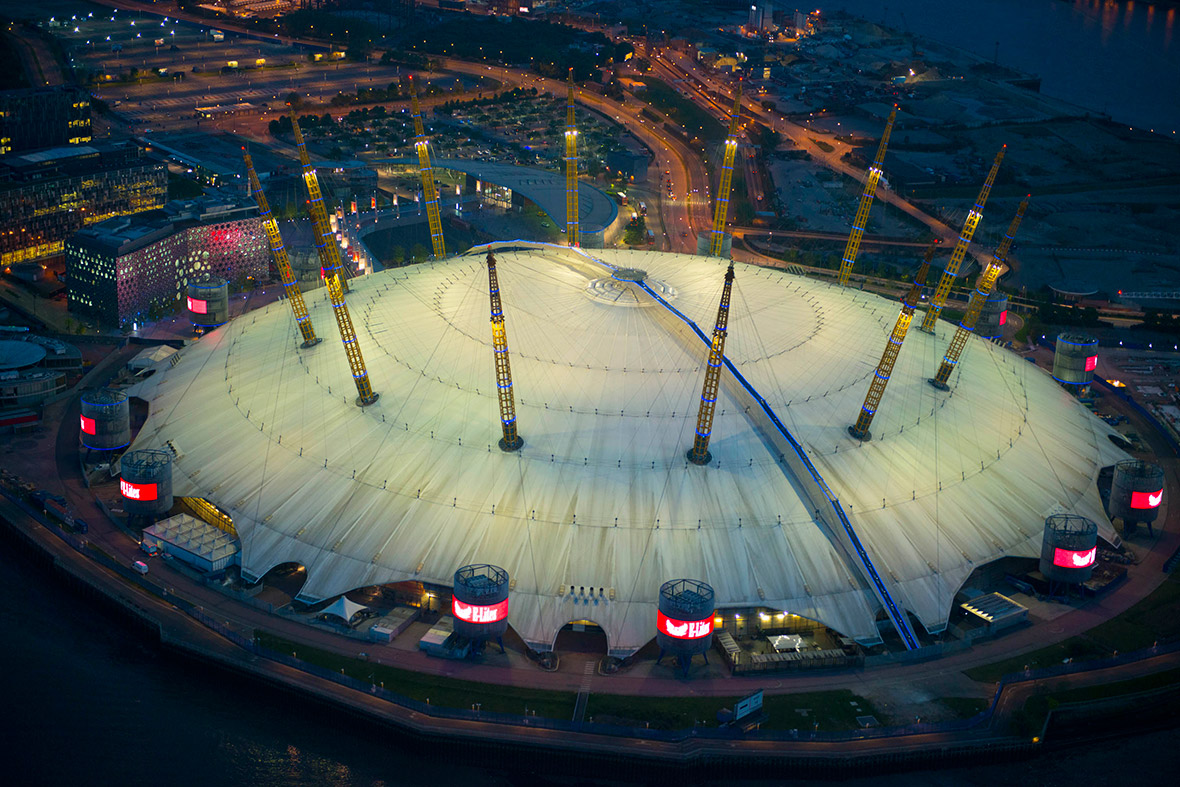 The O2 Arena in Greenwich illuminated at night