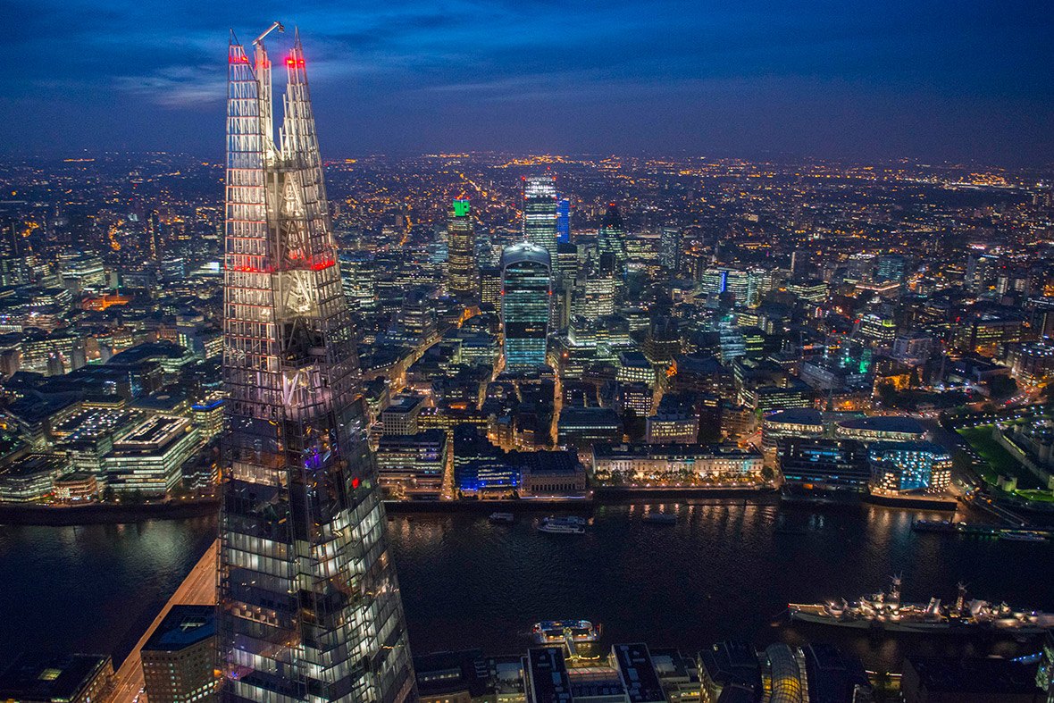 The Shard at night looking North across the Thames to the City