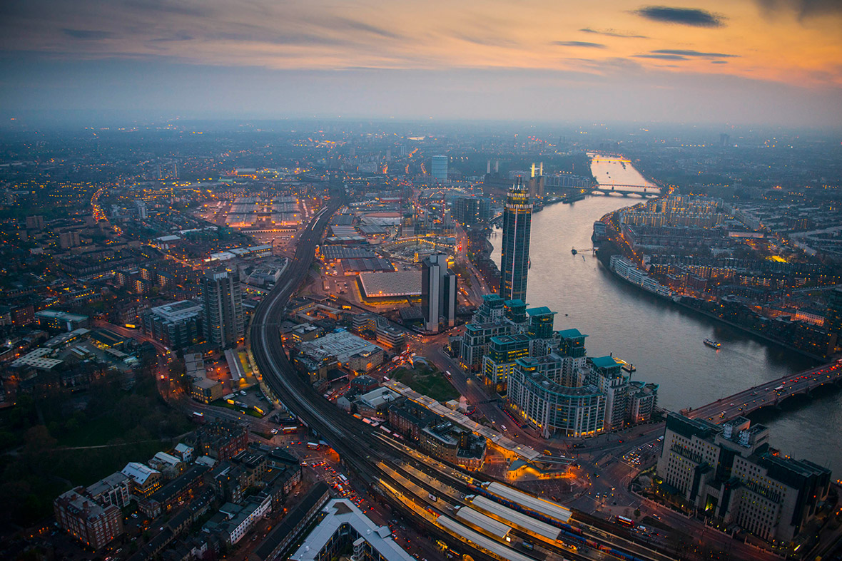Vauxhall Station and the Nine Elms regeneration site at dusk