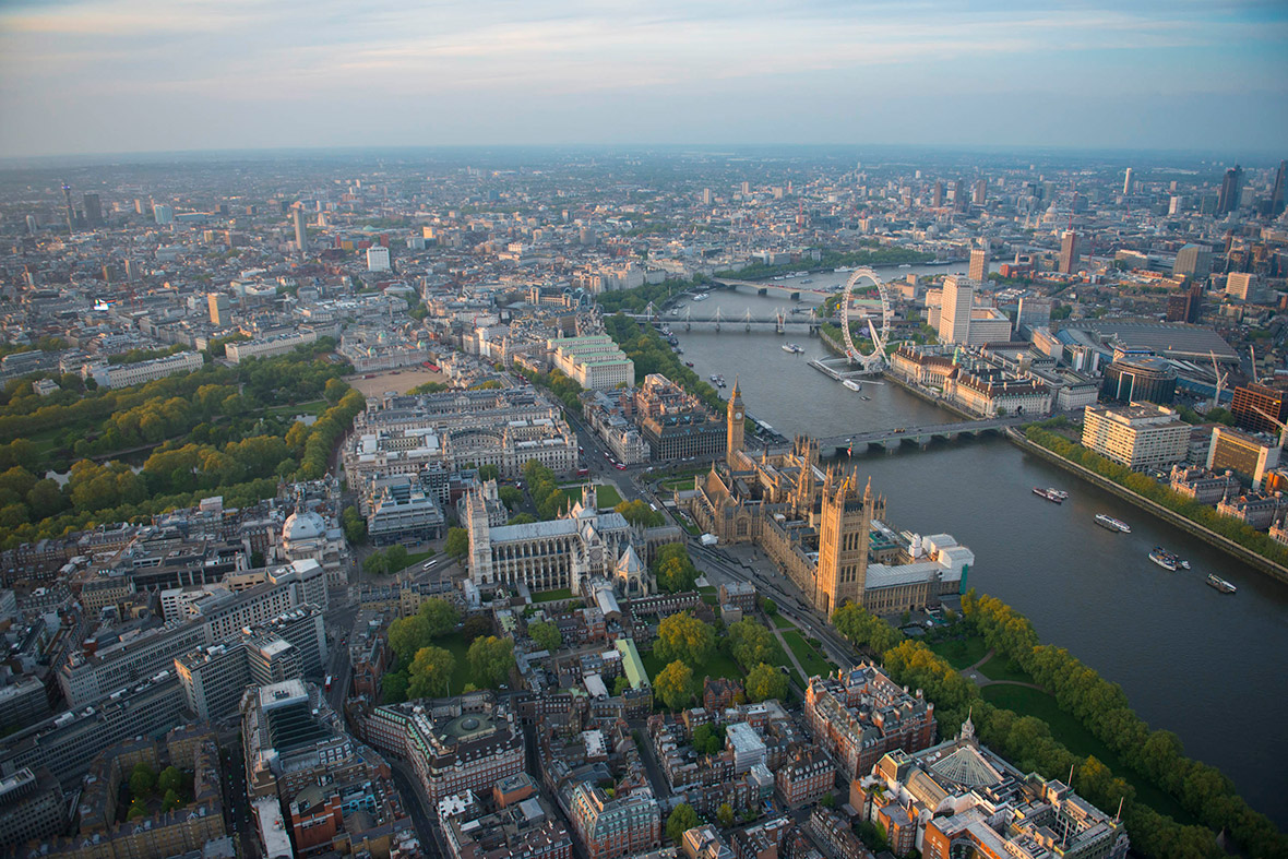 Westminster Abbey and the Houses of Parliament with the London Eye in the background