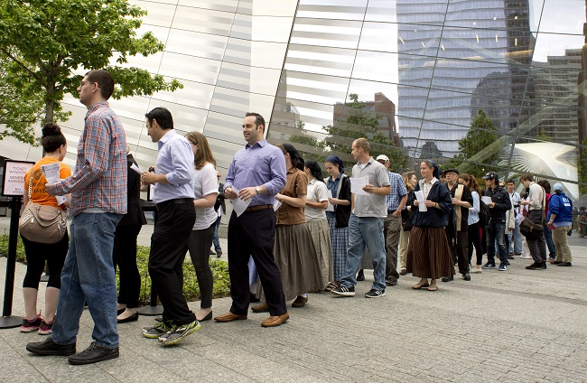 People line up to enter the 9/11 Memorial Museum