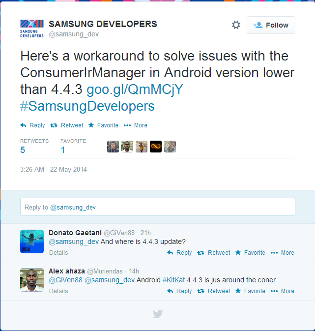 Android 4.4.3 Spotted in Tech Document via Samsung's Developer Website