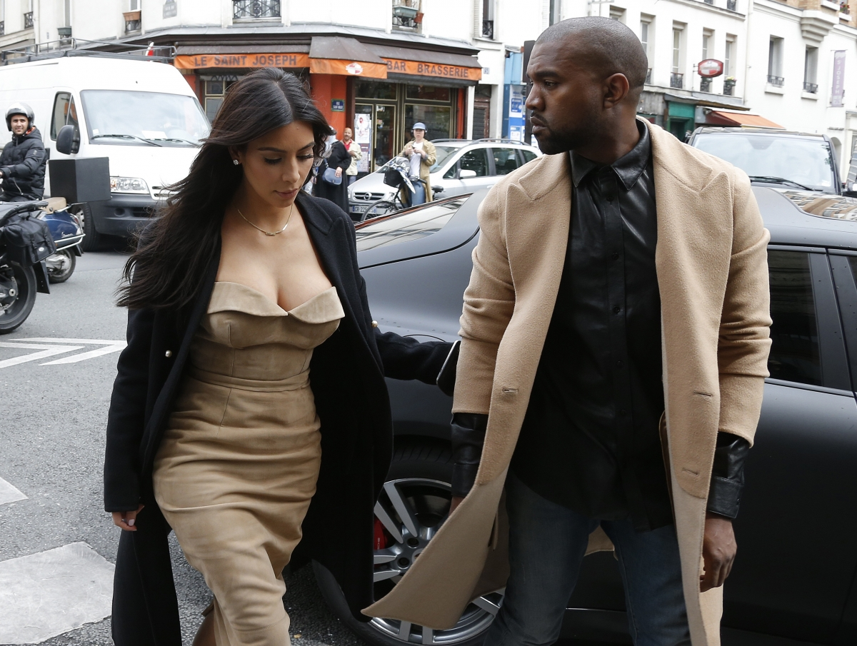 Kim Kardashian and rapper Kanye West in Paris