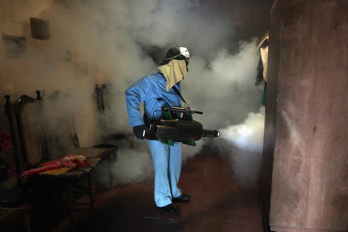 A health worker fumigates inside a home to eliminate mosquitoes
