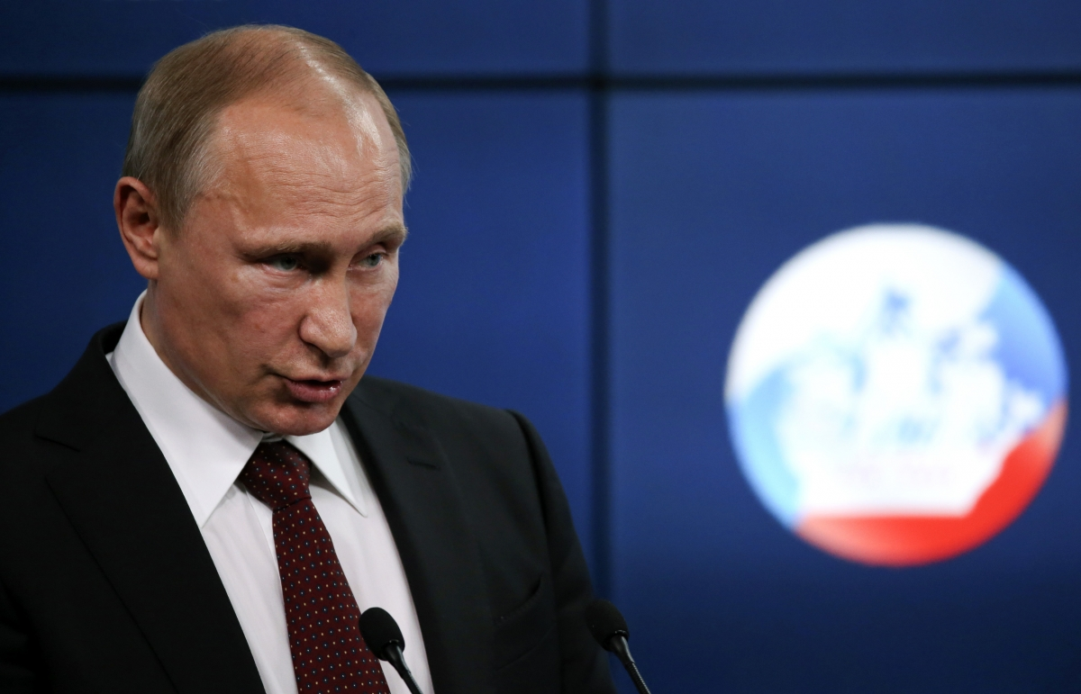 Vladimir Putin at today\'s press conference in St Petersburg. (Reuters)