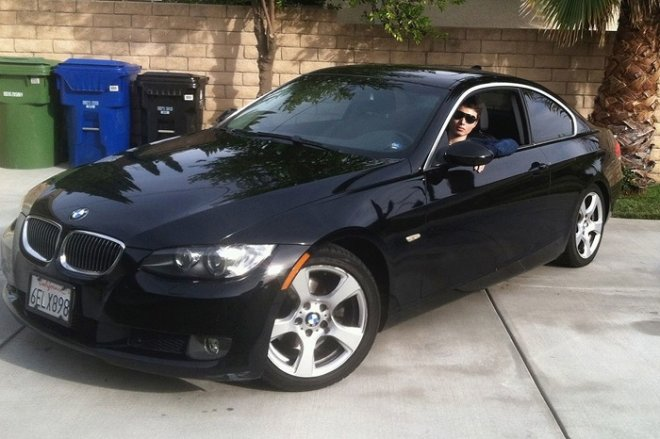 Elliot Rodger in his black BMW, where he was found dead from an apparently self-inflicted gunshot wound.