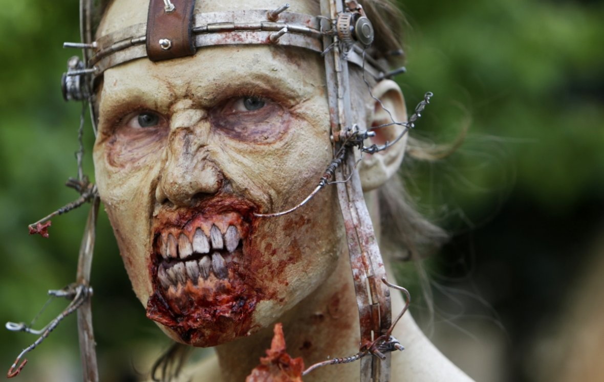 A zombie obligingly snarls for the camera