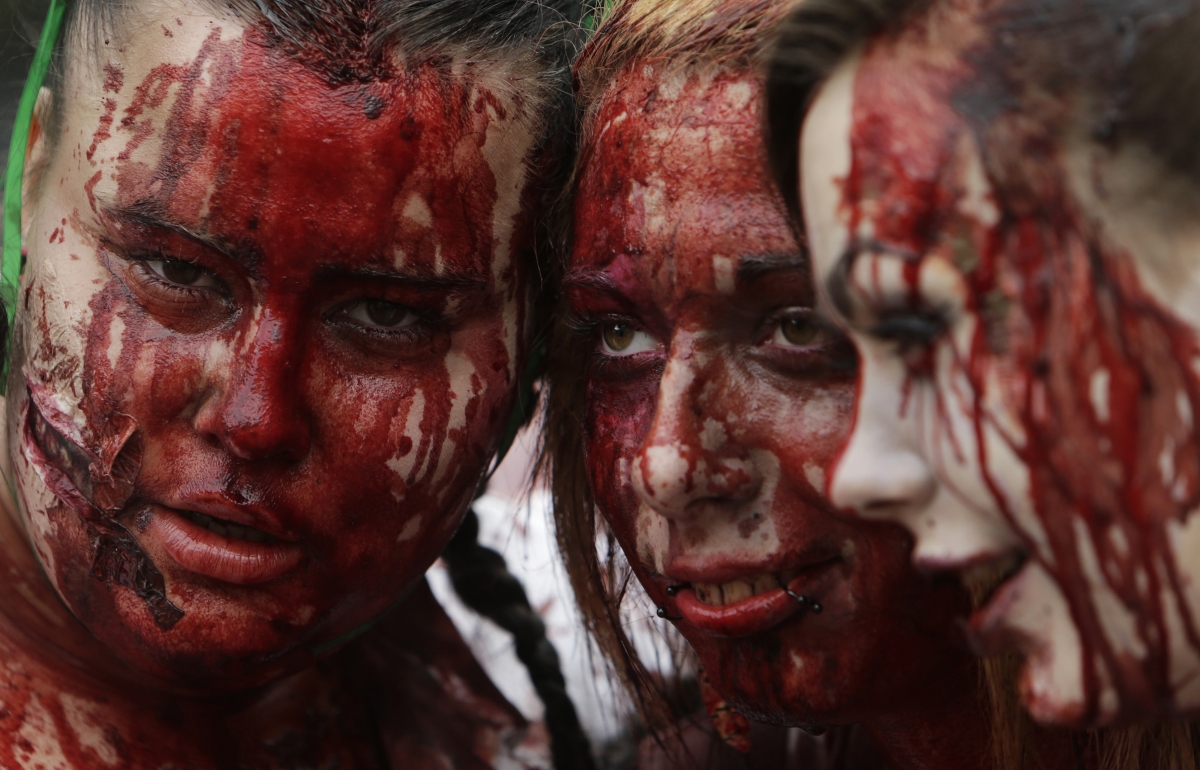 Sales of fake blood were doing brisk business in Prague for the Zombie Walk
