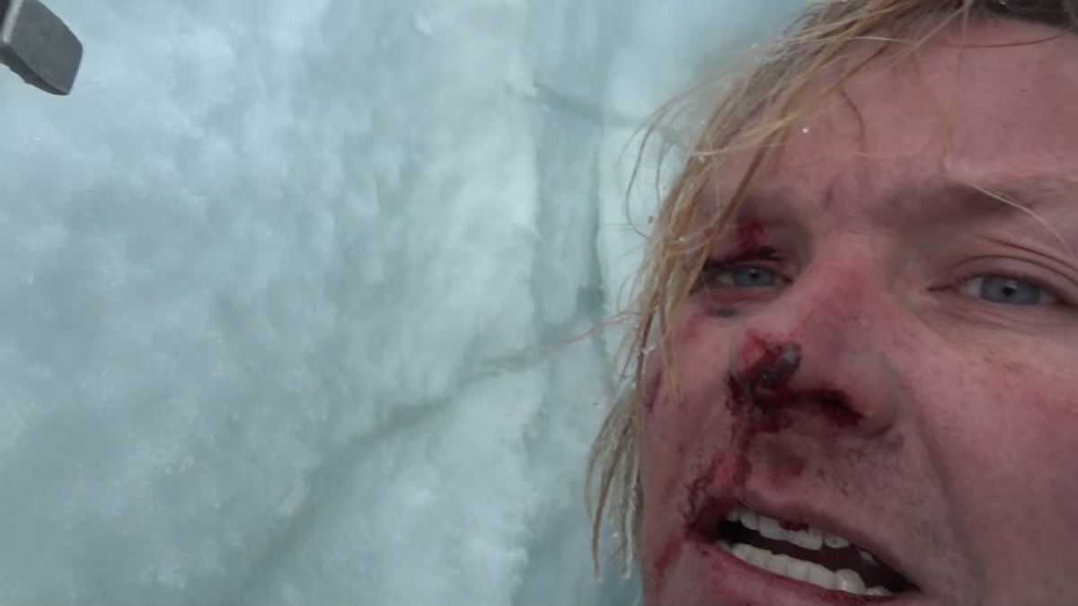 Professor John All trapped in a crevasse in Mount Himlung in the Himalayas
