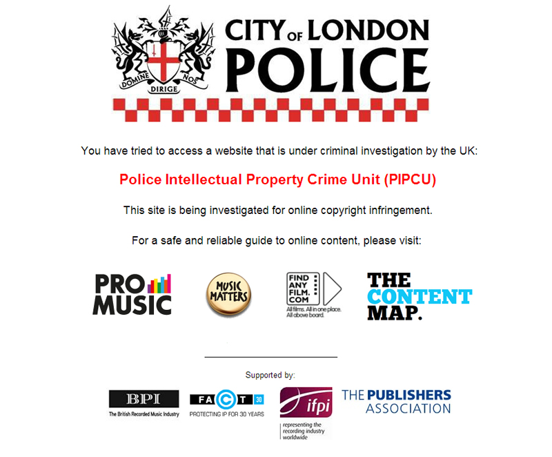 City of London Police Intellectual Property Website Takedown Notice