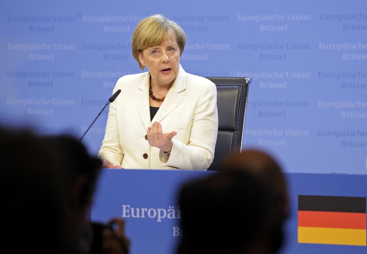 Angela Merkel addresses EU summit