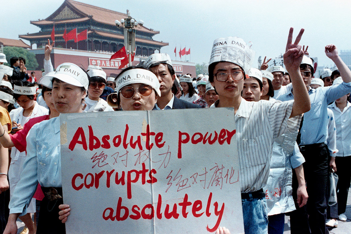17 May 1989 A group of journalists support the pro-democracy protest in Tiananmen Square