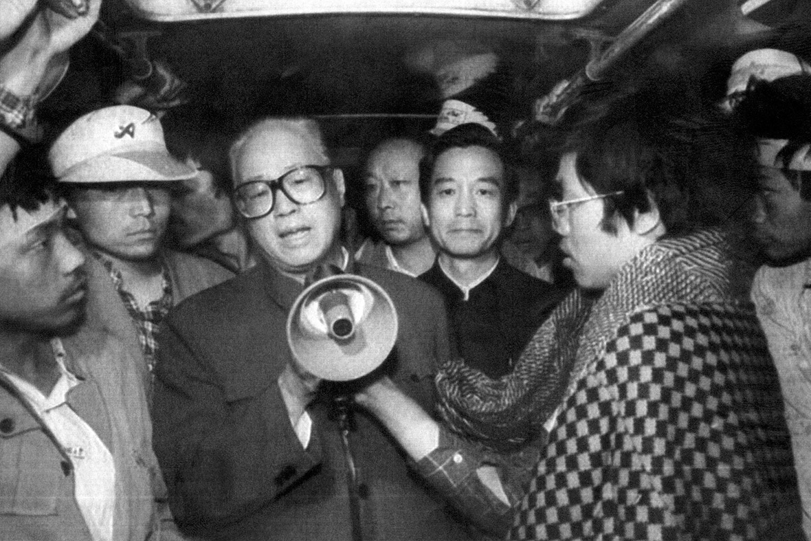 19 May 1989 The late Zhao Ziyang, then secretary general of the Communist Party of China, addresses hunger strikers through a megaphone