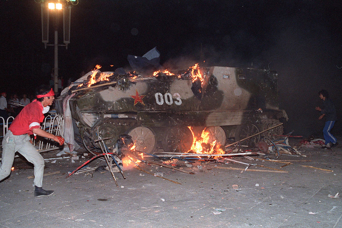 4 June 1989 An armoured personnel carrier is set on fire near Tiananmen Square