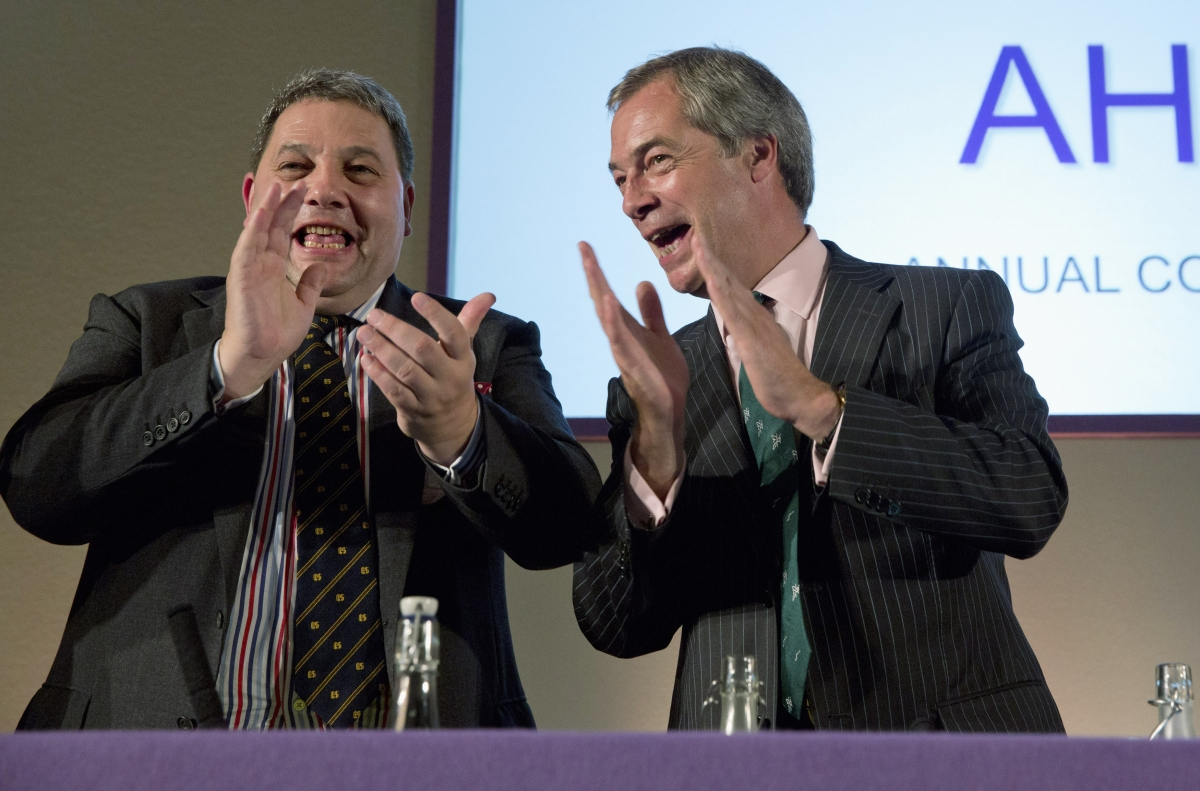 Anti-gay marriage homosexual politician David Coburn (left) with Ukip leader Nigel Farage