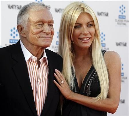 Hugh Hefner and his fiancee, Playboy Playmate Crystal Harris, arrive at the opening night gala of the 2011 TCM Classic Film Festival featuring a screening of a restoration of 'An American In Paris' in Hollywood, California