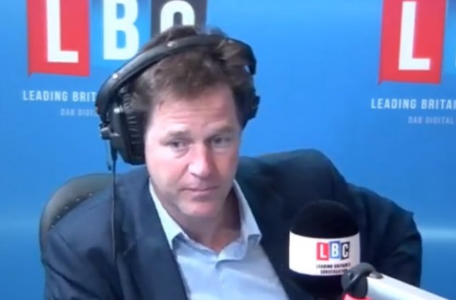 Nick Clegg denied weeping at poor election results on his weekly LBC radio phone-in