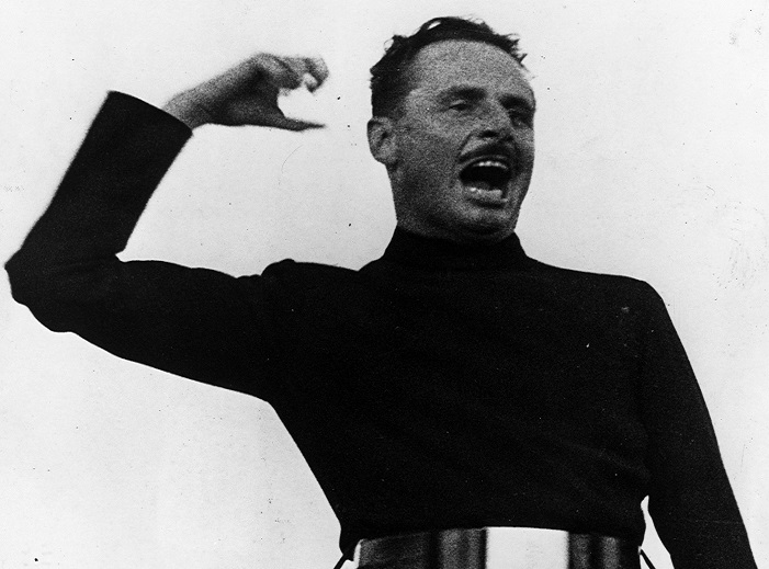 Oswald Mosley addressing a British Union of Fascists rally in Hyde Park, 1936