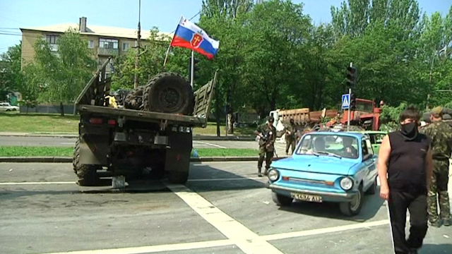 Pro-Russian Rebels Man Checkpoint near Donetsk