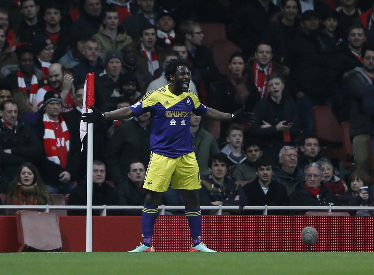 Swansea City's Wilfried Bony celebrates after scoring during their English Premier League soccer match against Arsenal at the Emirates stadium in London March 25, 2014.