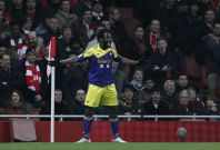 Swansea City\'s Wilfried Bony celebrates after scoring during their English Premier League soccer match against Arsenal at the Emirates stadium in London March 25, 2014.