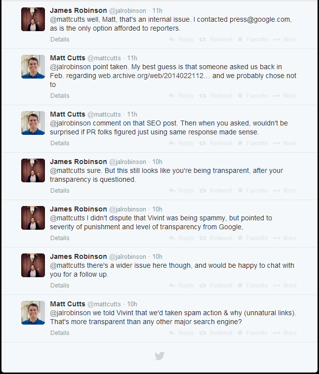 Twitter row between Google's Matt Cutts and the author of the Pando article